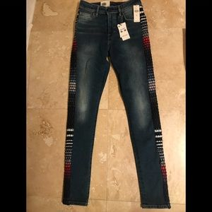 Levi's high rise skinny w side multi color stripe
